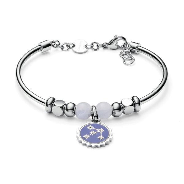 316L stainless steel bracelet with white jade, blu enamel and Swarovski®crystals.