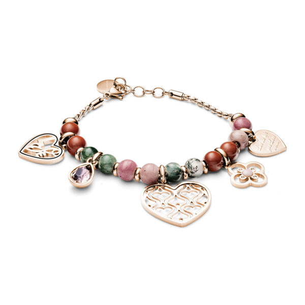 316L stainless steel bracelet, rose gold pvd with rhodonite, indian agate and red jasper and Swarovski®crystals.