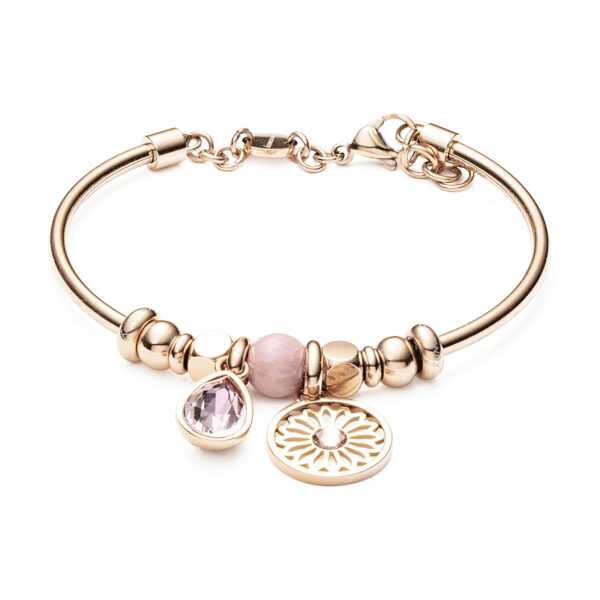 316L stainless steel bracelet, rose gold pvd with rhodonite and Swarovski®crystals.
