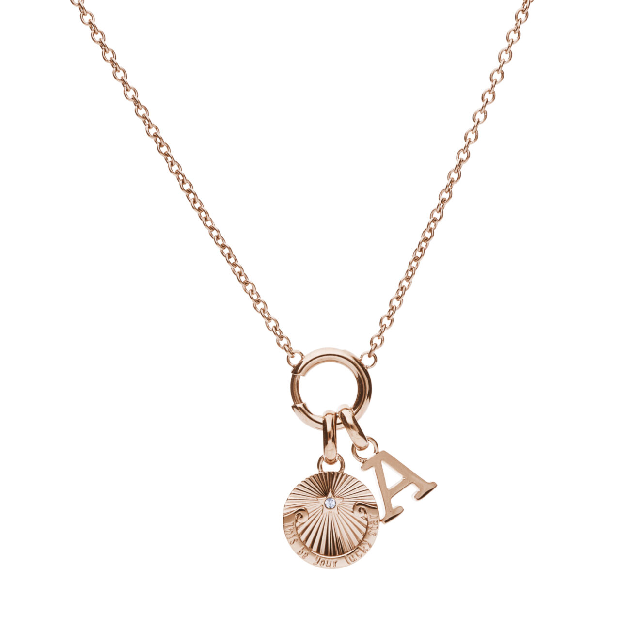 """316L stainless steel and rose gold pvd composable necklace, with """"This be your lucky star"""" engraving beads and gold pvd A letter beads."""