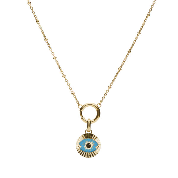 316L stainless steel and gold pvd composable necklace, with gold pvd beads and black and aquamarine enamel.