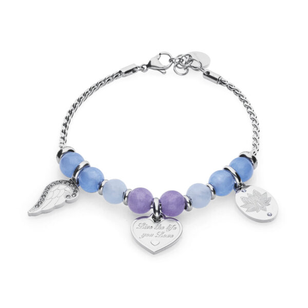 "316L stainless steel composable bracelet, with blue jade, lilac jade and amazonite stones, beads with ""Live the life you love engraving, wing-shaped beads with Swarovski© elements and beads with lotus flower engraving."