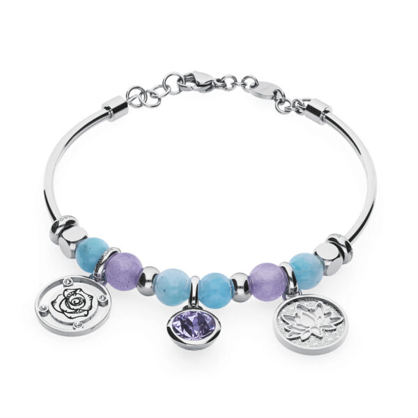 "316L stainless steel bangle, with lilac jade, amazonite, beads with lotus flower engraving, beads with ""Catch the moment"" and a rose engraving and purple Swarovski© element beads."
