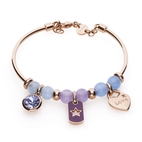 "316L stainless steel and rose gold pvd bangle, with blue jade, lilac jade and aquamarine stones, with Swarovski© provence lavander beads, heart-shaped beads with ""Love"" engraving and beads with a star engraving and purple enamel."