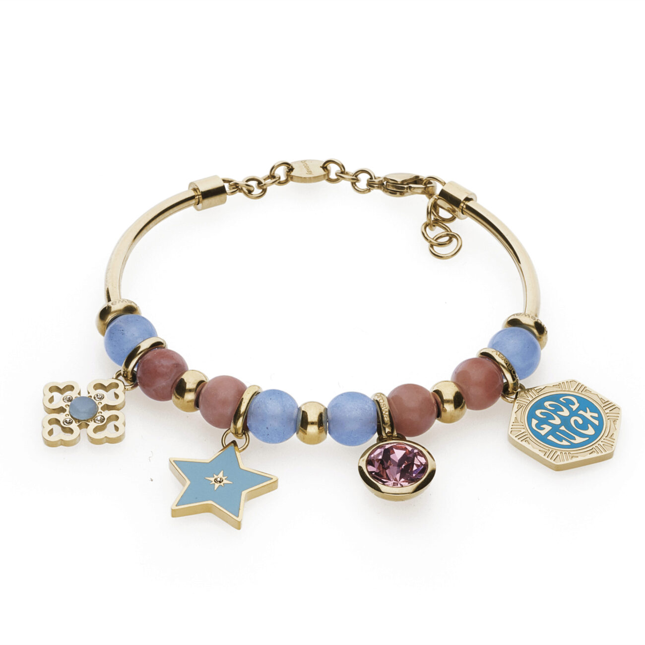 """316L stainless steel and gold pvd bangle, with blue jade, red aventurine stones, gold pvd beads with Swarovski© elements and cabochon amazonite, star-shaped beads with light blue enamel, beads with pink Swarovski© element and gold pvd beads with """"Good luck"""" engraving and green enamel."""