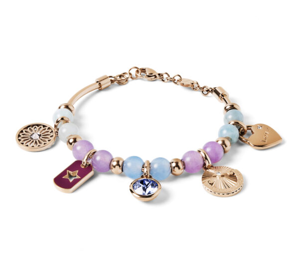 """316L stainless steel and rose gold pvd bangle, with blue jade, lilac jade and aquamarine stones, with flower-shaped beads,beads with a star engraving and purple enamel,Swarovski© provence lavander beads, rose gold pvd box-shaped beads and heart-shaped beads with """"Love"""" engraving."""
