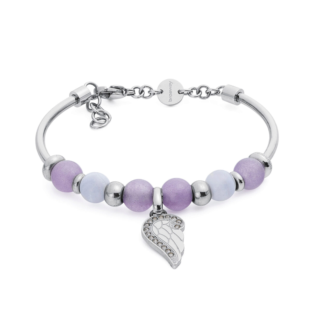 316L stainless steel composable bracelet, lilac jade, blue lace agate and crystal Swarovski® crystals.