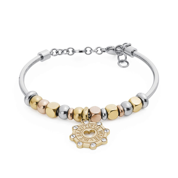 316L stainless steel composable bracelet, gold pvd, rose gold pvd and crystal Swarovski® crystals.
