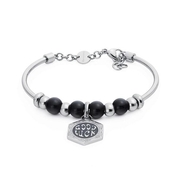 316L stainless steel composable bracelet, black onyx and black enamel.