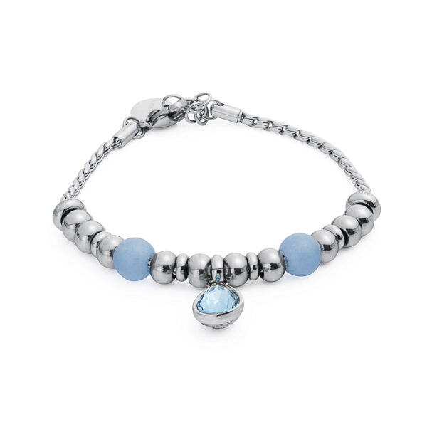 316L stainless steel composable bracelet, aquamarine and light sapphire Swarovski® crystal.