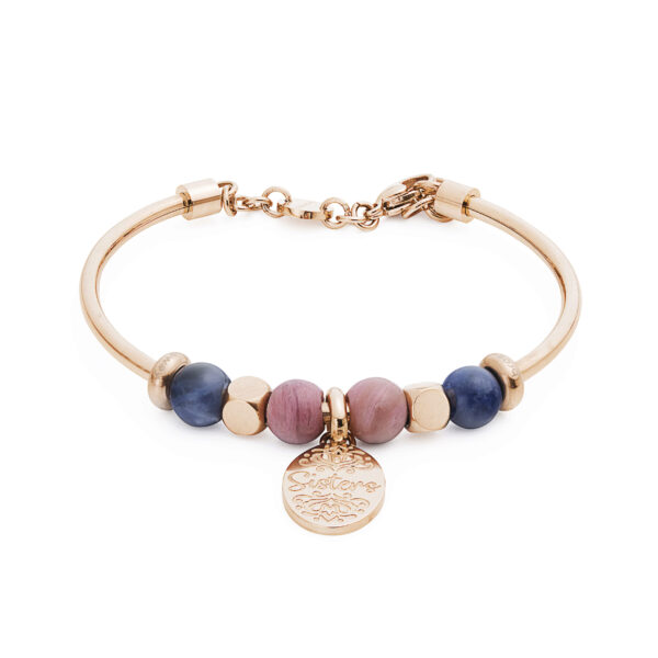316L stainless steel composable bracelet, rose gold pvd, sodalite and rhodonite.