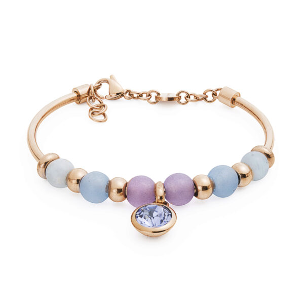 316L stainless steel composable bracelet, rose gold pvd, aquamarine, Malaysian blue jade, lilac jade and provence lavender Swarovski® crystal.