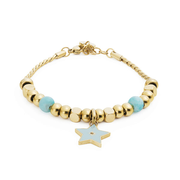 316L stainless steel composable bracelet, gold pvd, amazonite and light colorado topaz Swarovski® crystal.