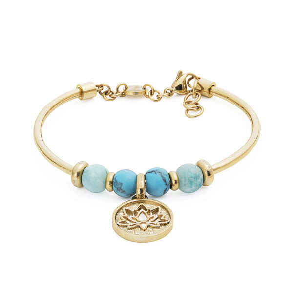 316L stainless steel composable bracelet, gold pvd, amazonite and faux tourquoise.