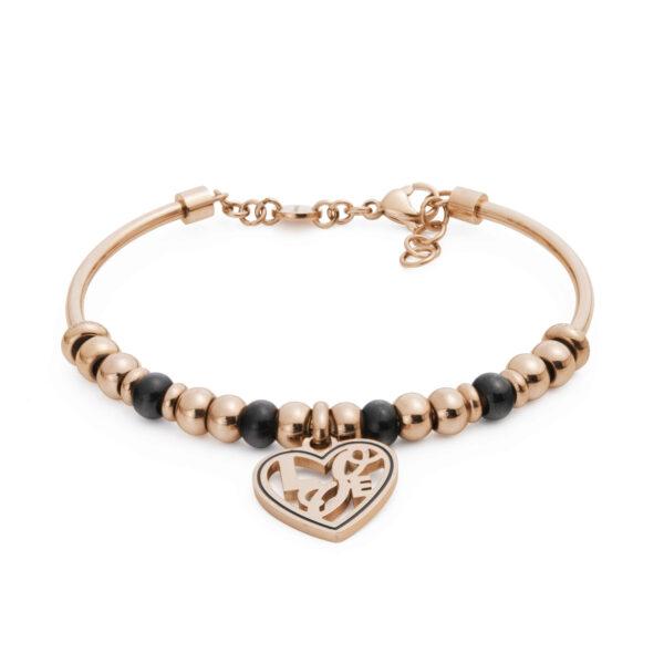 316L stainless steel composable bracelet, rose gold pvd, black onyx and black enamel.