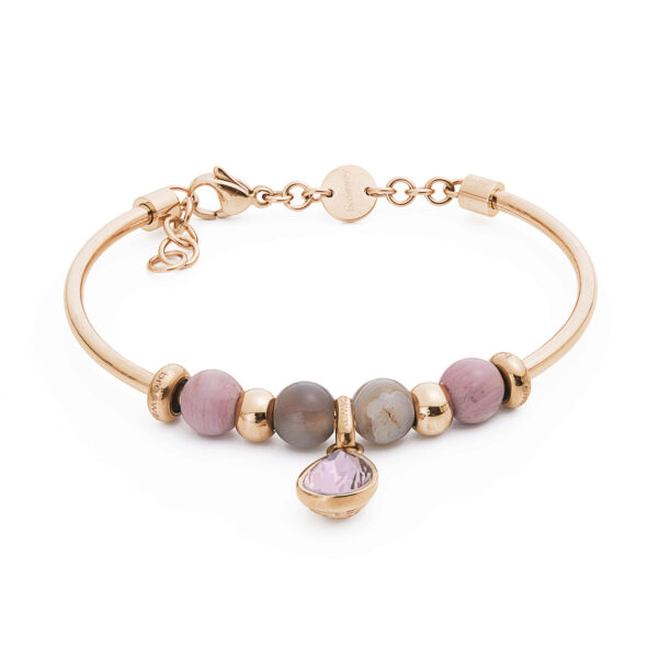 316L stainless steel composable bracelet with Swarovski® crystal, rhodonite and botswana agate.