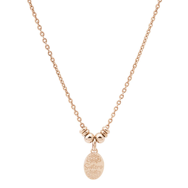 316L stainless steel composable necklace and rose gold pvd.