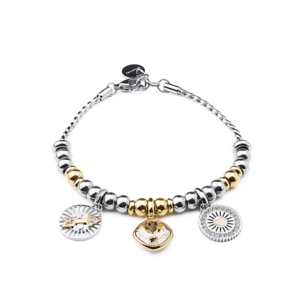316L stainless steel composable bracelet and gold pvd with Swarovski® crystal.