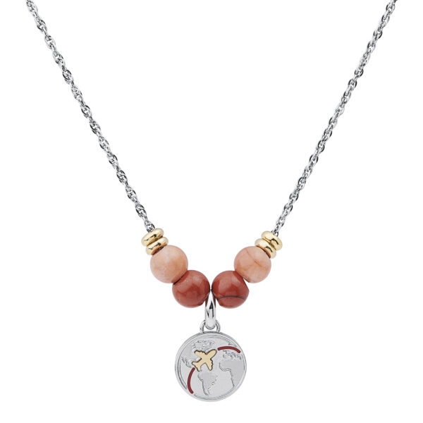 316L stainless steel composable necklace with red jasper and aventurine.