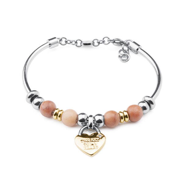 316L stainless steel composable bracelet and gold pvd with aventurine and Swarovski® crystal..