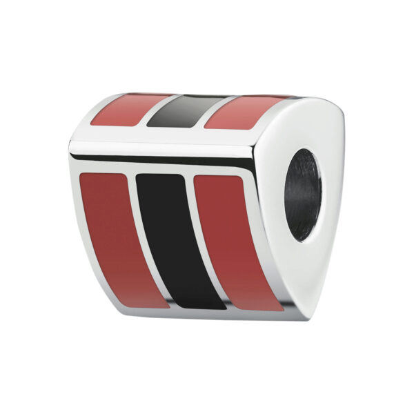 TEAM: RED & BLACK316l stainless steel beads with red and black enamel