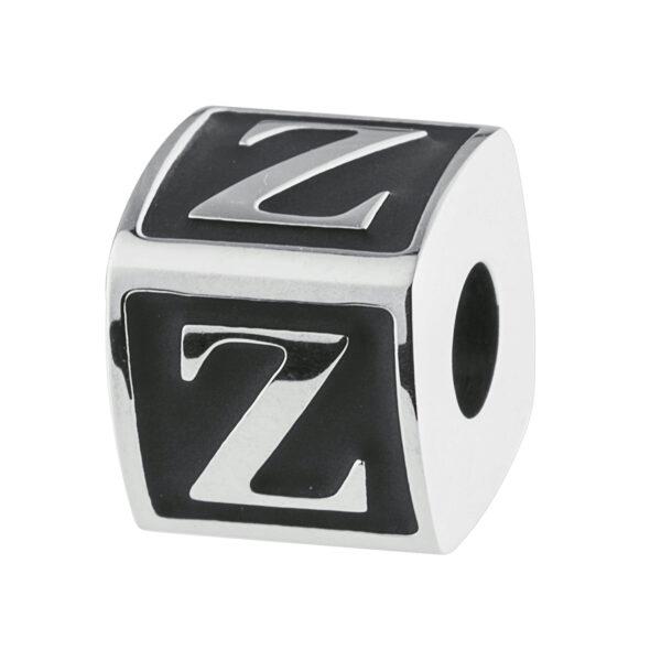 ALPHABET:LETTER Z316l stainless steel beads with black enamel