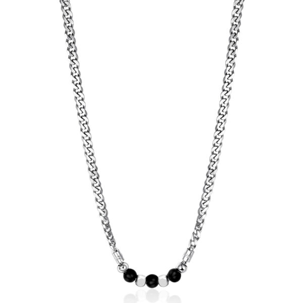 316L stainless steel composable necklace with black onyx.