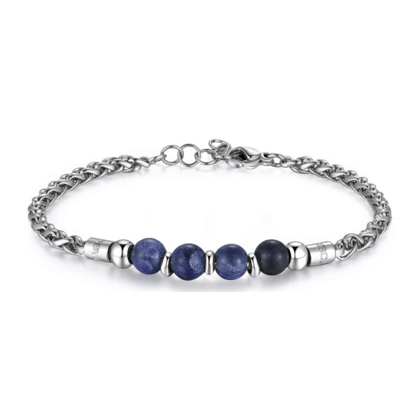 316L stainless steel composable bracelet with sodalite.