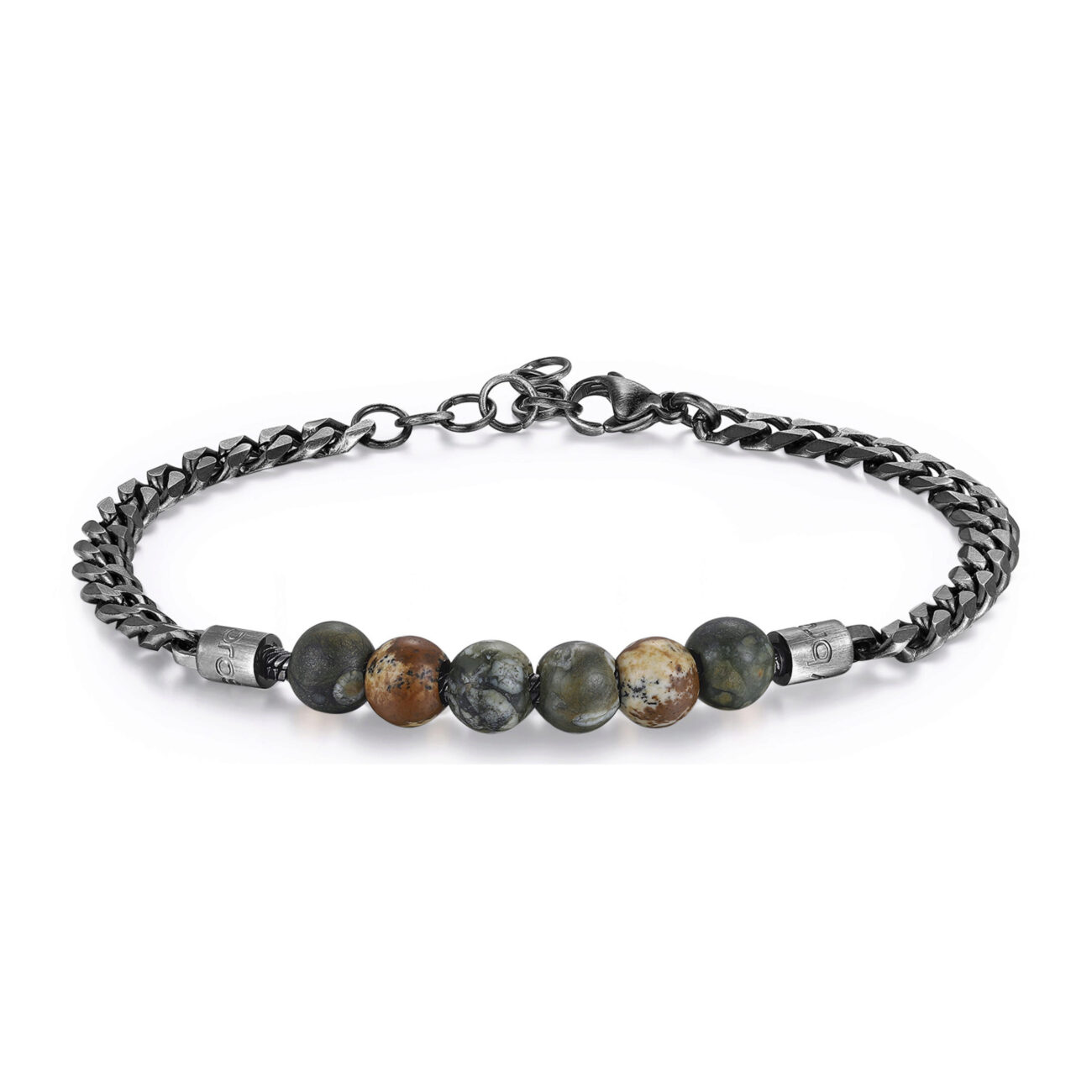 316L stainless steel composable bracelet and finishes gun with nephrite jade and paesina.