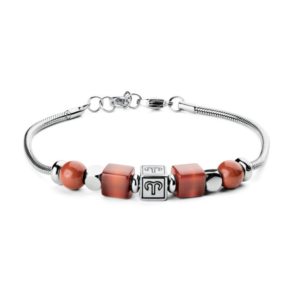 316L stainless steel composable bracelet with aries sign, red jasper stones and red agate stones.