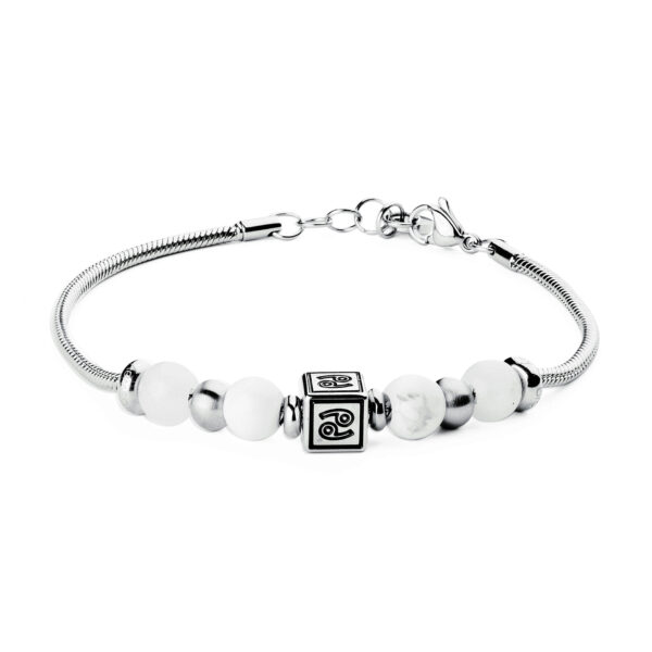 316L stainless steel composable bracelet with cancer sign, white jade stones and white howlite stones.