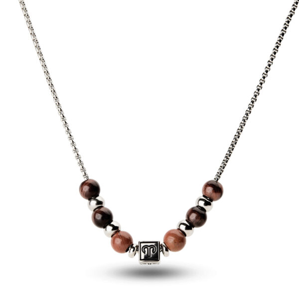 316L stainless steel composable necklace with aries sign, red eye of the tiger stones and red jasper stones.