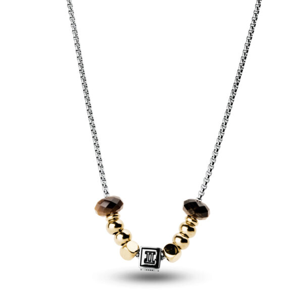 316L stainless steel composable necklace with gemini sign, gold pvd and eye of the tiger stones.