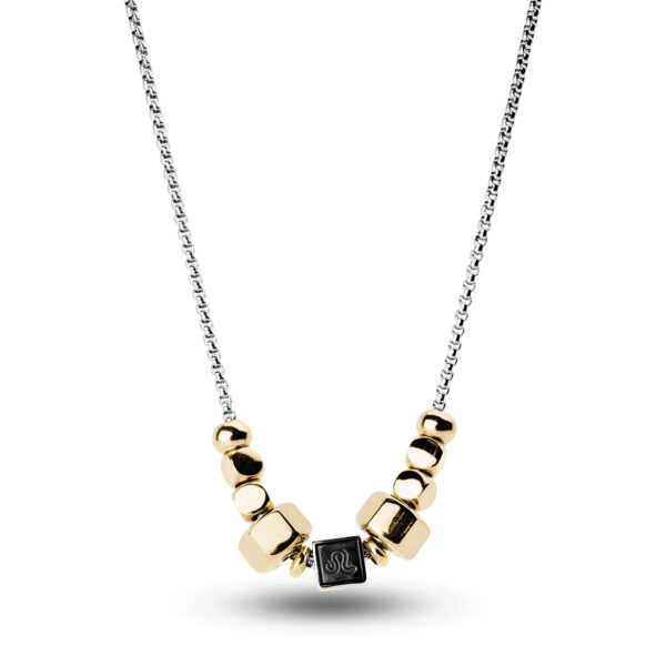 316L stainless steel composable necklace with leo sign and gold pvd.