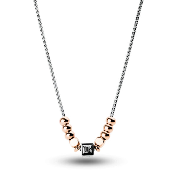 316L stainless steel composable necklace with scorpio sign and rose gold pvd.