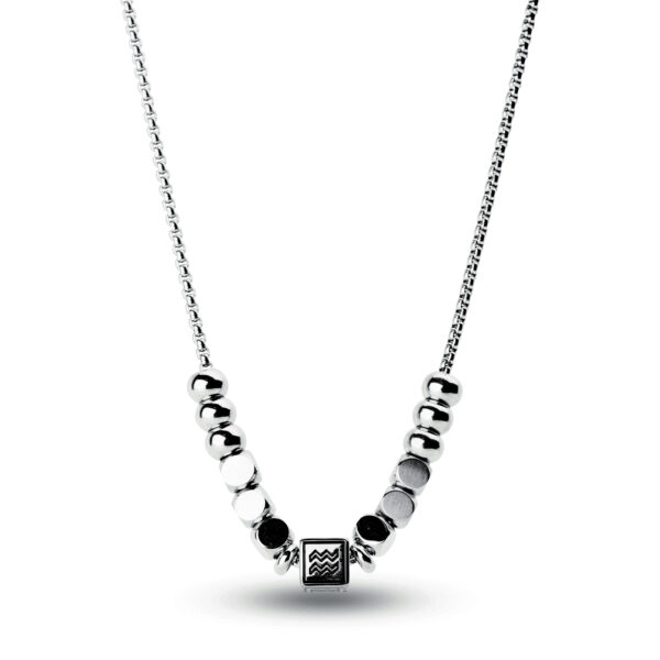 316L stainless steel composable necklace with aquarius sign.