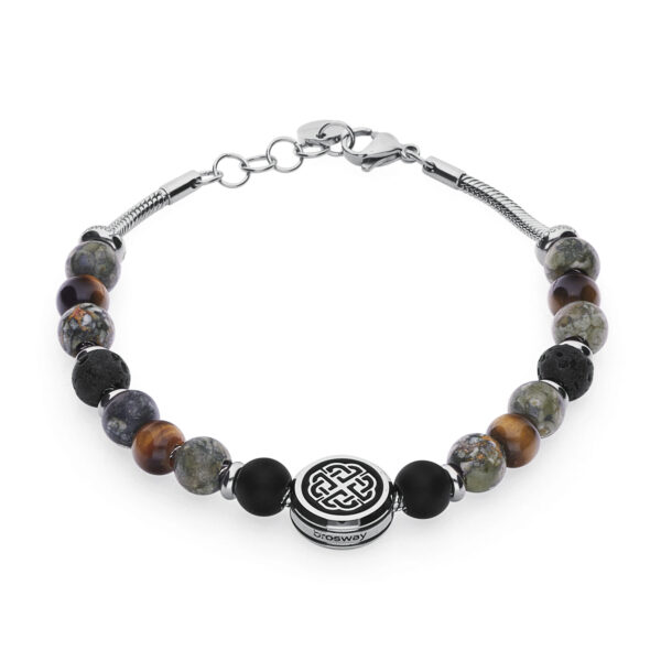 316L stainless steel composable bracelet, with lava stones, nephrite jade, black onyx, yellow eye of the tiger stones and a bead with black pvd celtic knot.