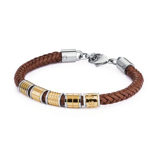 316l stainless steel, gold pvd and brown leather