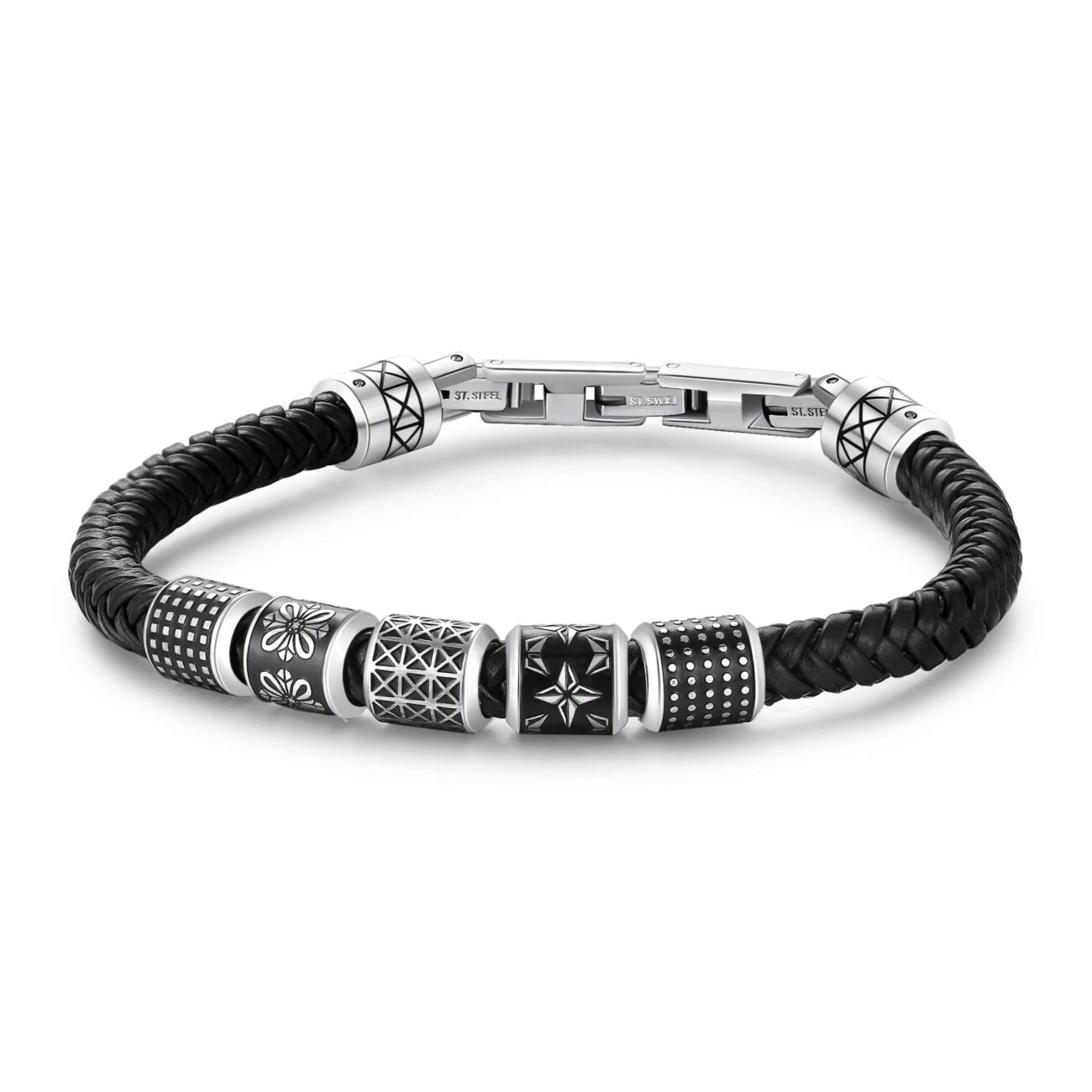 Black leather bracelet with 316L stainless steel and black enamel elements.