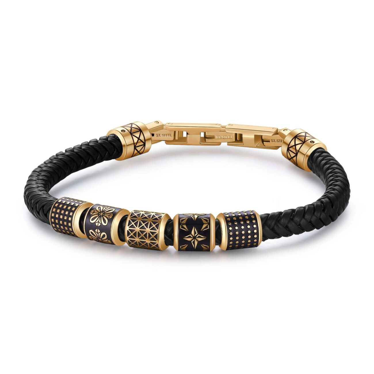 Black leather bracelet, gold pvd with 316L stainless steel and black enamel elements.