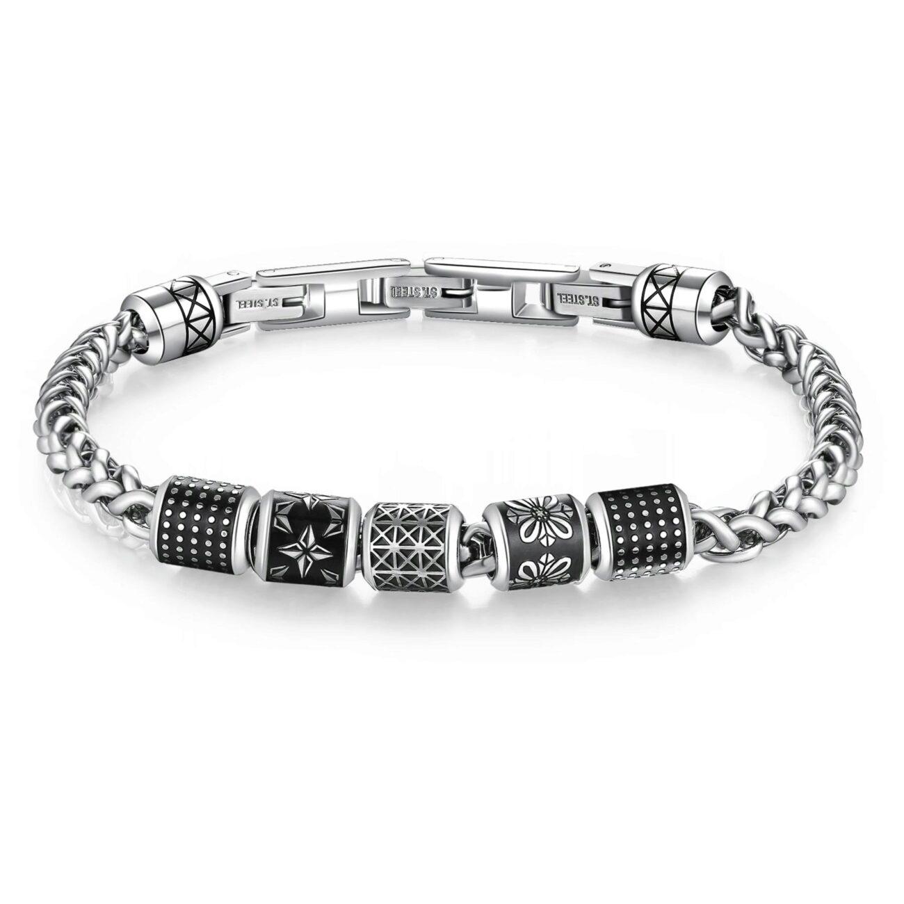 316L stainless steel bracelet with black enamel.