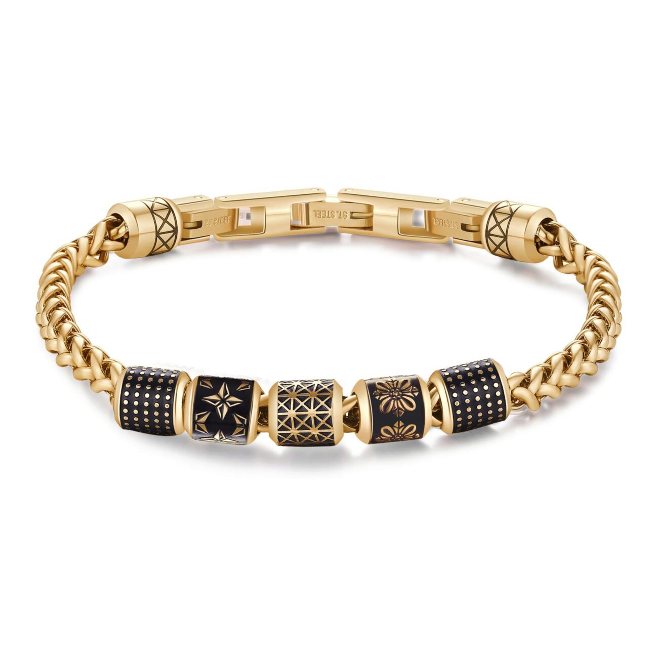 316L stainless steel bracelet, gold pvd with black enamel.