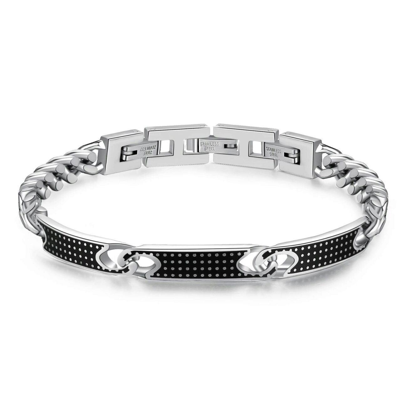 316L stainless steel chain bracelet with black enamel.