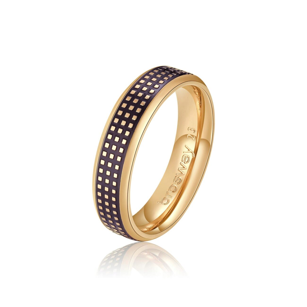 316L stainless steel ring, gold pvd with black enamel.