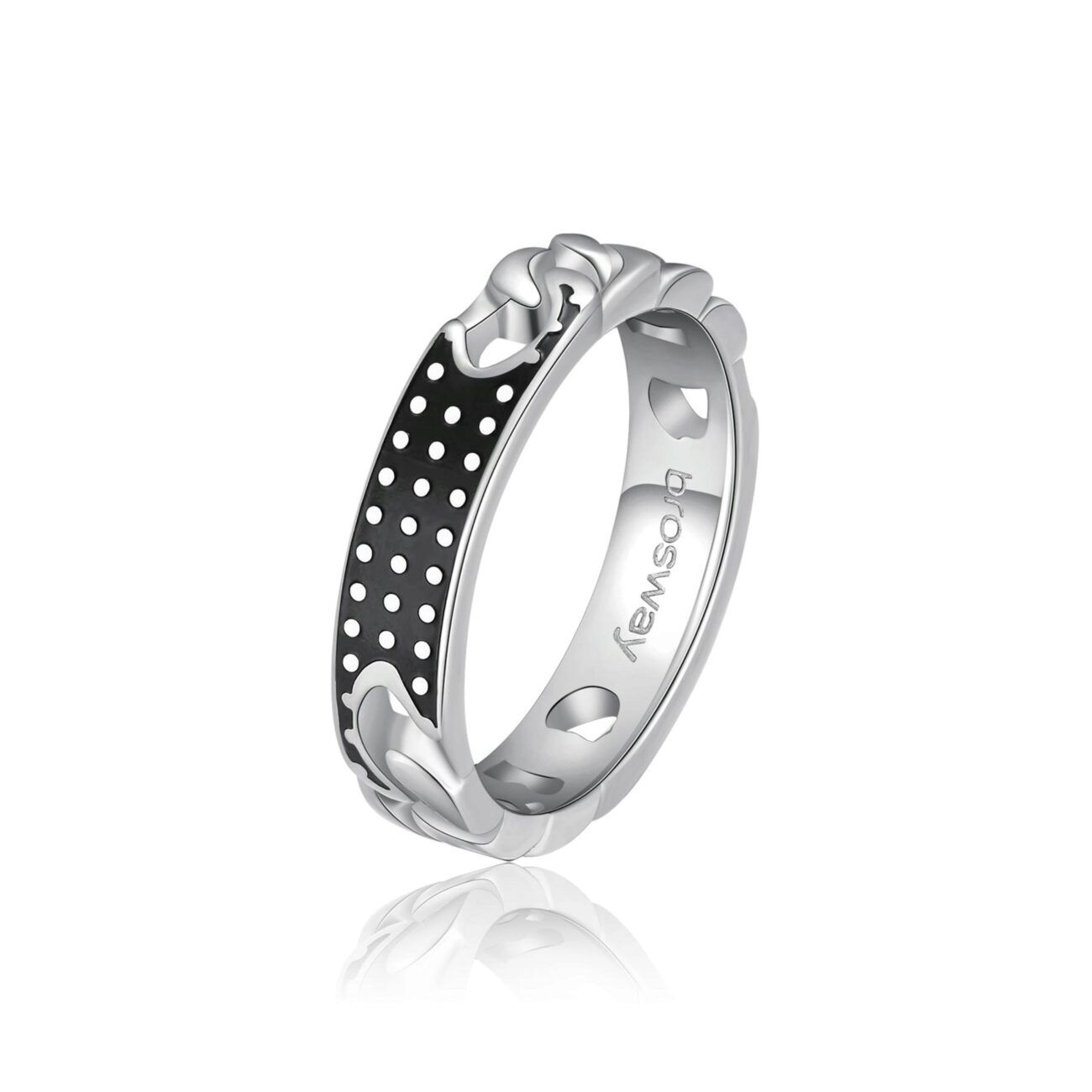 316L stainless steel ring with black enamel.