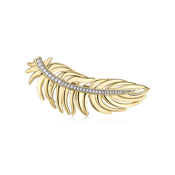 Gold-plated brass brooch with white zircon pavè