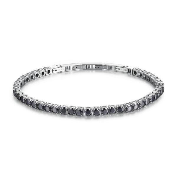316L stainless steel bracelet with black zircons.