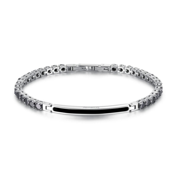316L stainless steel bracelet and black pvd with black zircons.