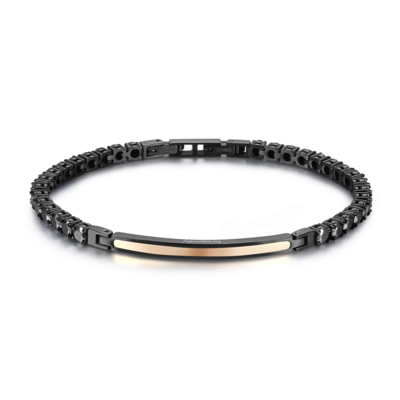 316L stainless steel bracelet, black pvd and rose gold pvd with black zircons.