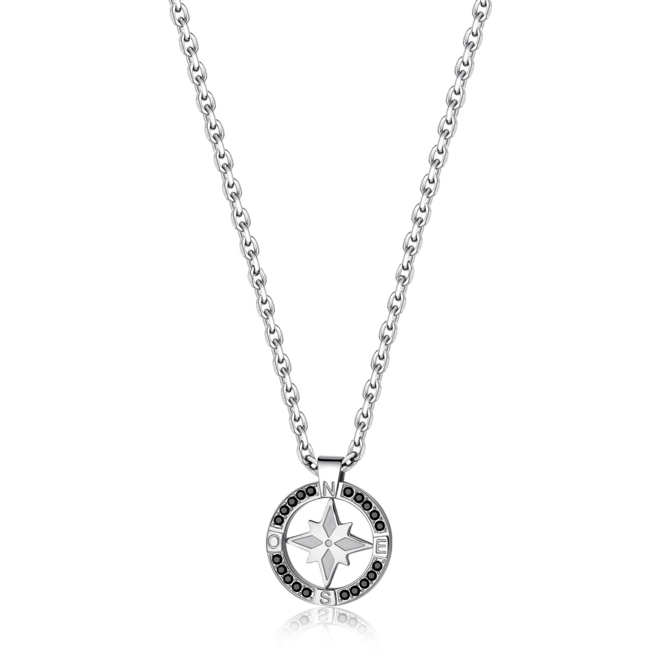 316L stainless steel necklace with small wind rose pendant and Swarovski® Elements crystals.
